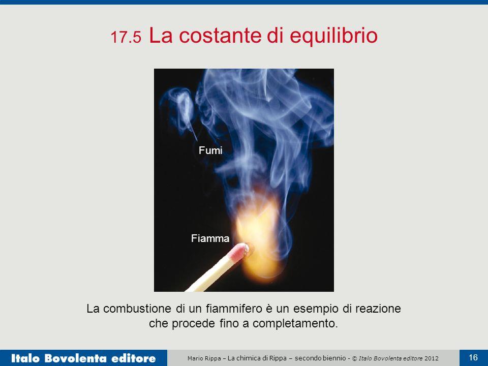 Mario Rippa – La chimica di Rippa – secondo biennio - © Italo Bovolenta editore 2012 16 17.5 La costante di equilibrio La combustione di un fiammifero è un esempio di reazione che procede fino a completamento.