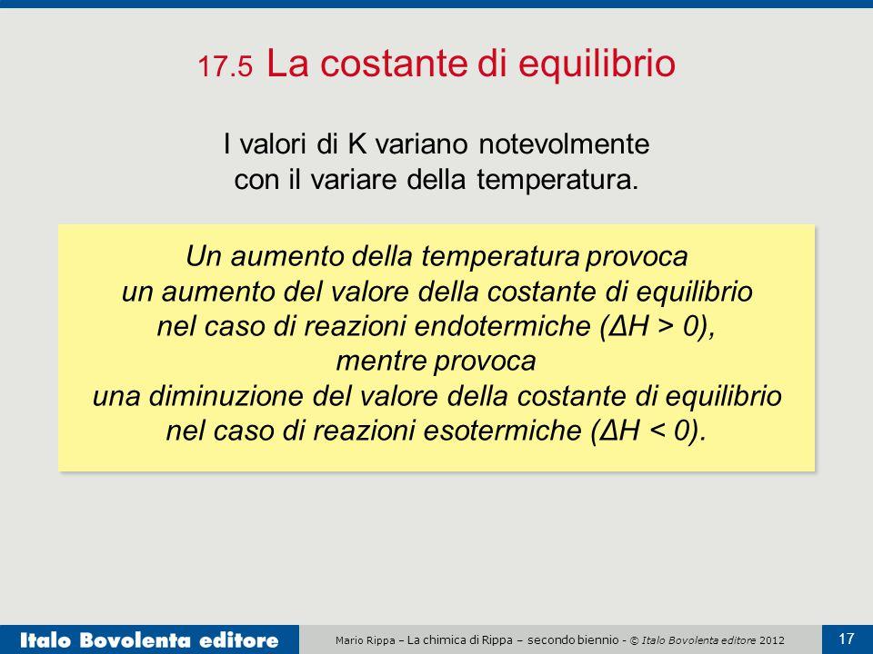Mario Rippa – La chimica di Rippa – secondo biennio - © Italo Bovolenta editore 2012 17 17.5 La costante di equilibrio I valori di K variano notevolmente con il variare della temperatura.