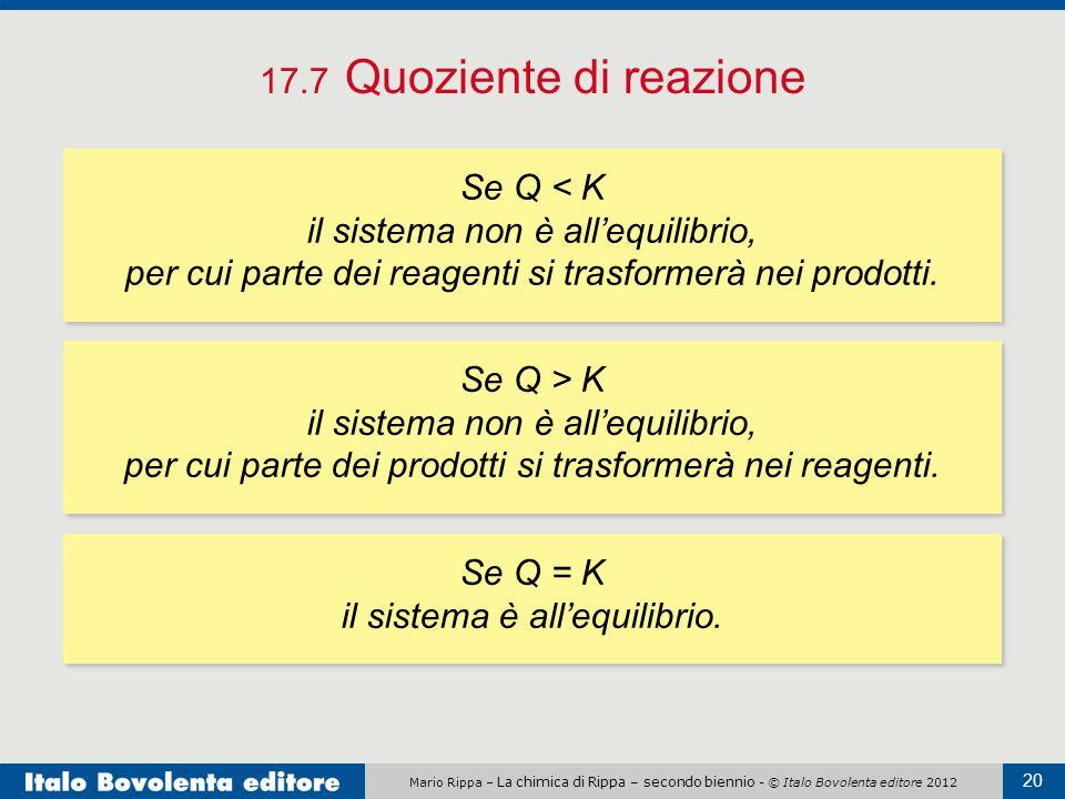Mario Rippa – La chimica di Rippa – secondo biennio - © Italo Bovolenta editore 2012 20 17.7 Quoziente di reazione Se Q < K il sistema non è all'equilibrio, per cui parte dei reagenti si trasformerà nei prodotti.