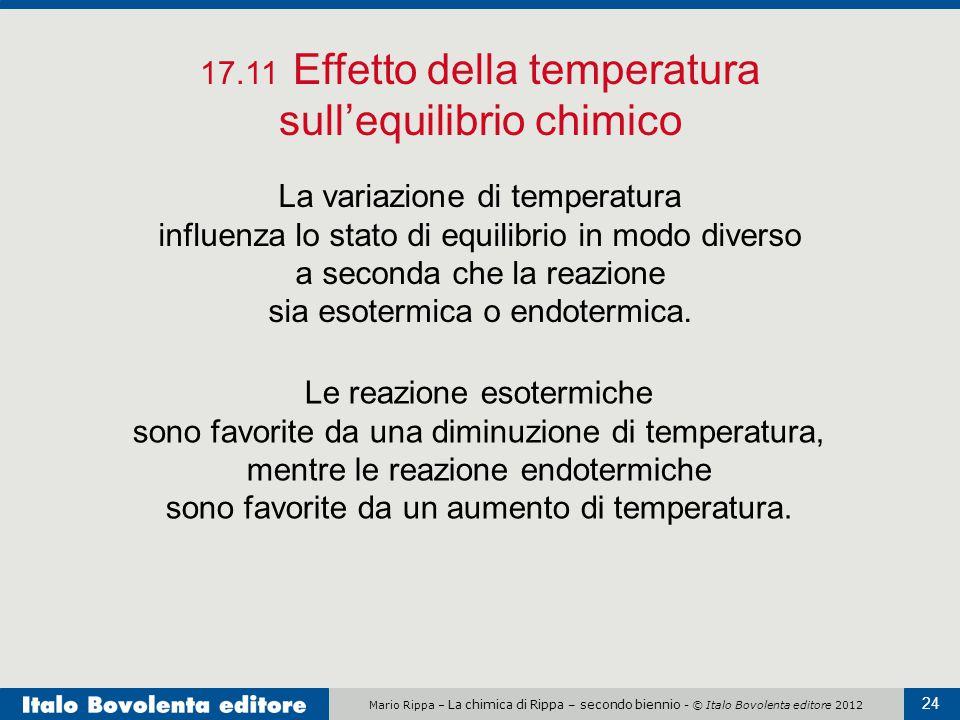 Mario Rippa – La chimica di Rippa – secondo biennio - © Italo Bovolenta editore 2012 24 17.11 Effetto della temperatura sull'equilibrio chimico La variazione di temperatura influenza lo stato di equilibrio in modo diverso a seconda che la reazione sia esotermica o endotermica.