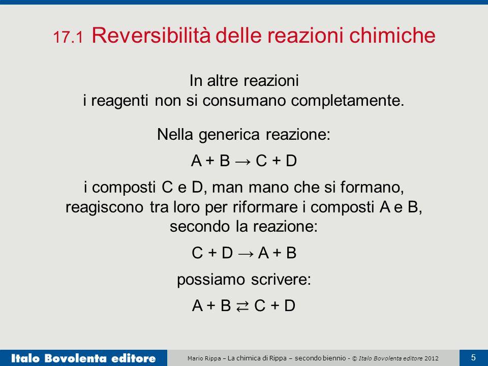 Mario Rippa – La chimica di Rippa – secondo biennio - © Italo Bovolenta editore 2012 5 17.1 Reversibilità delle reazioni chimiche In altre reazioni i reagenti non si consumano completamente.