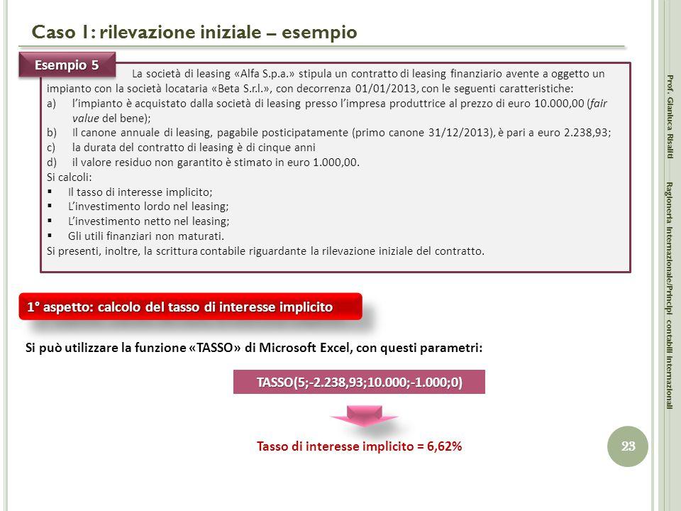 Caso 1: rilevazione iniziale – esempio Prof. Gianluca Risaliti 23 Ragioneria Internazionale/Principi contabili internazionali La società di leasing «A