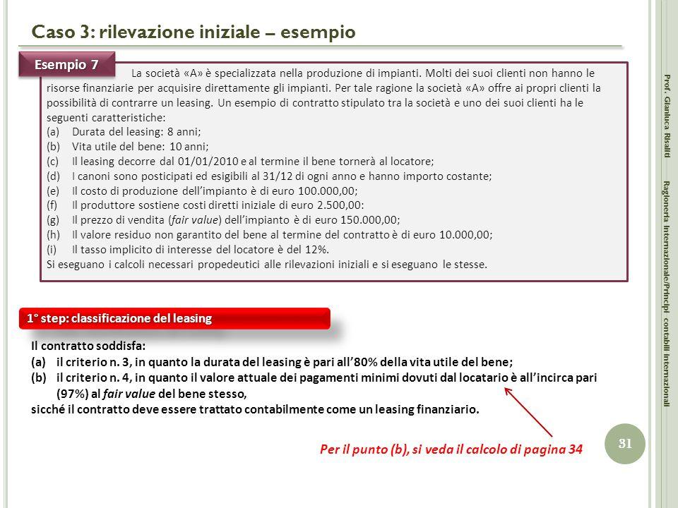 Caso 3: rilevazione iniziale – esempio Prof. Gianluca Risaliti 31 Ragioneria Internazionale/Principi contabili internazionali La società «A» è special