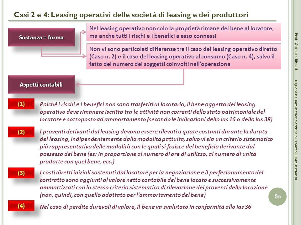 Casi 2 e 4: Leasing operativi delle società di leasing e dei produttori Prof. Gianluca Risaliti 35 Ragioneria Internazionale/Principi contabili intern