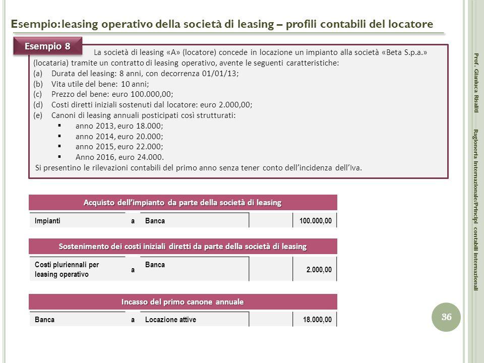 Esempio: leasing operativo della società di leasing – profili contabili del locatore Prof. Gianluca Risaliti 36 Ragioneria Internazionale/Principi con