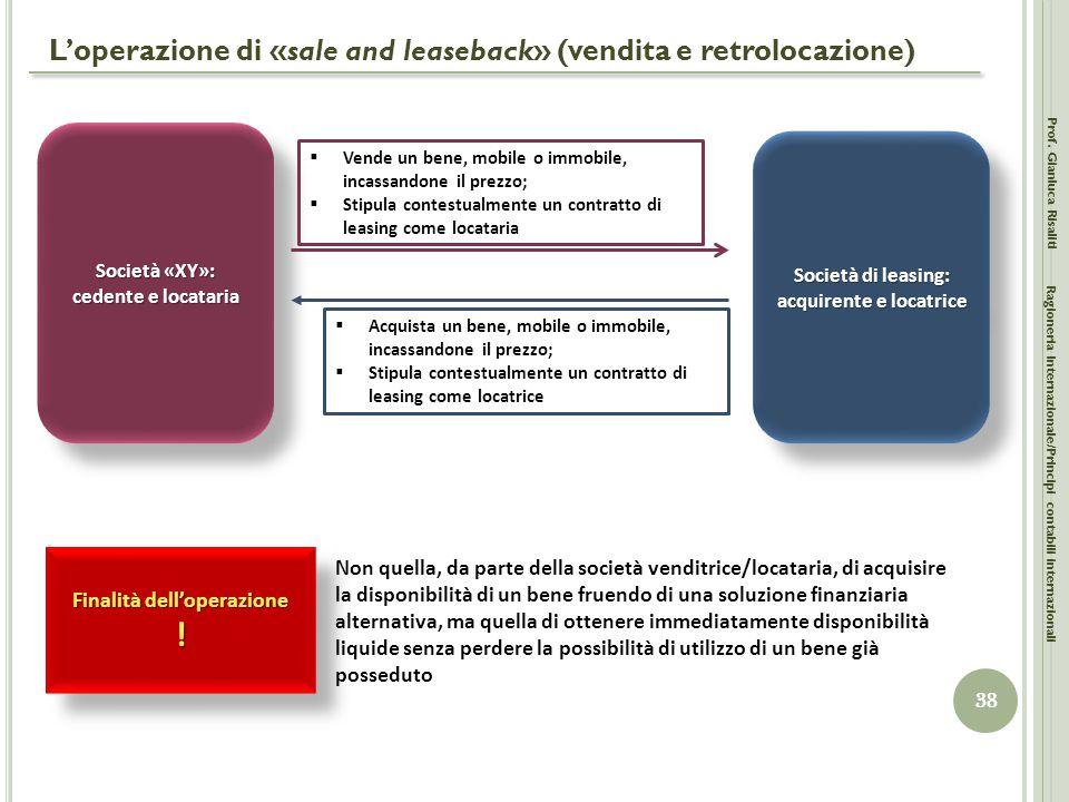 L'operazione di «sale and leaseback» (vendita e retrolocazione) Prof. Gianluca Risaliti 38 Ragioneria Internazionale/Principi contabili internazionali