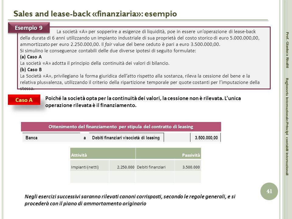 Sales and lease-back «finanziaria»: esempio Prof. Gianluca Risaliti 41 Ragioneria Internazionale/Principi contabili internazionali La società «A» per