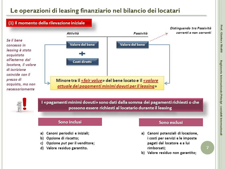 Le operazioni di leasing finanziario nel bilancio dei locatari Prof. Gianluca Risaliti 7 Ragioneria Internazionale/Principi contabili internazionali (