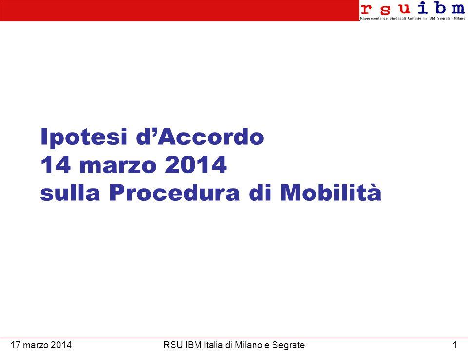 Ipotesi d'accordo sulla procedura di mobilità 2RSU IBM di Milano e Segrate  NON è un accordo con efficacia immediata;  Deve essere sottoposto al voto di tutti i lavoratori attraverso il referendum 17 marzo 2014 L'IPOTESI D'ACCORDO 1.Operazioni di voto dal 17 al 26 marzo compresi; 2.Se parteciperà il 50%+1 dei lavoratori il referendum sarà valido; 3.Se questi l'approveranno con una maggioranza del 50%+1, l'accordo avrà efficacia e sarà applicato.