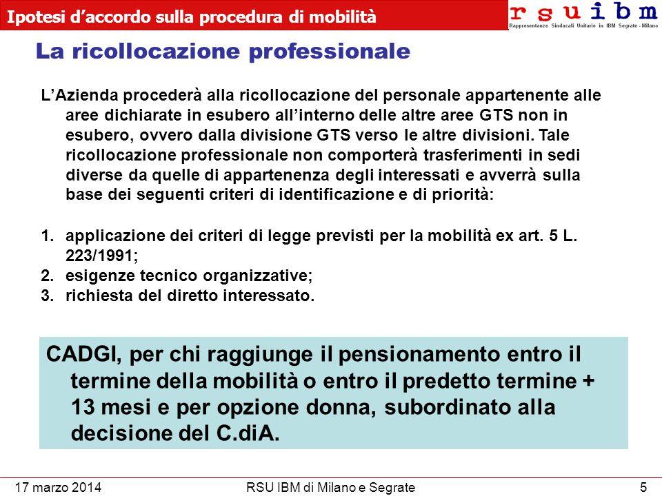 Ipotesi d'accordo sulla procedura di mobilità 5RSU IBM di Milano e Segrate L'Azienda procederà alla ricollocazione del personale appartenente alle aree dichiarate in esubero all'interno delle altre aree GTS non in esubero, ovvero dalla divisione GTS verso le altre divisioni.