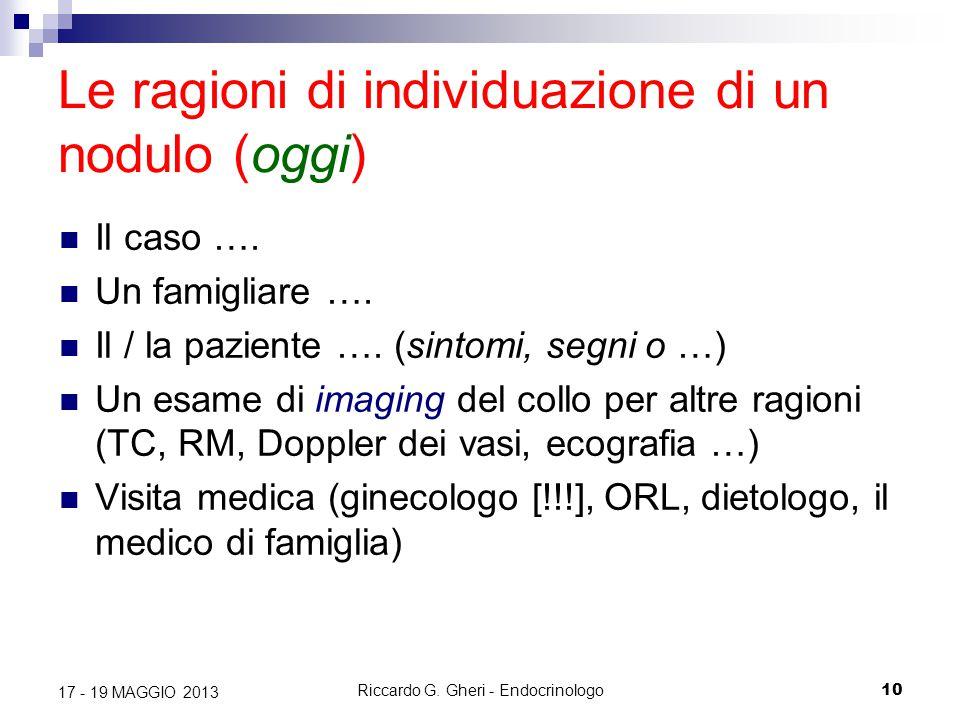 Riccardo G. Gheri - Endocrinologo10 17 - 19 MAGGIO 2013 Le ragioni di individuazione di un nodulo (oggi) Il caso …. Un famigliare …. Il / la paziente