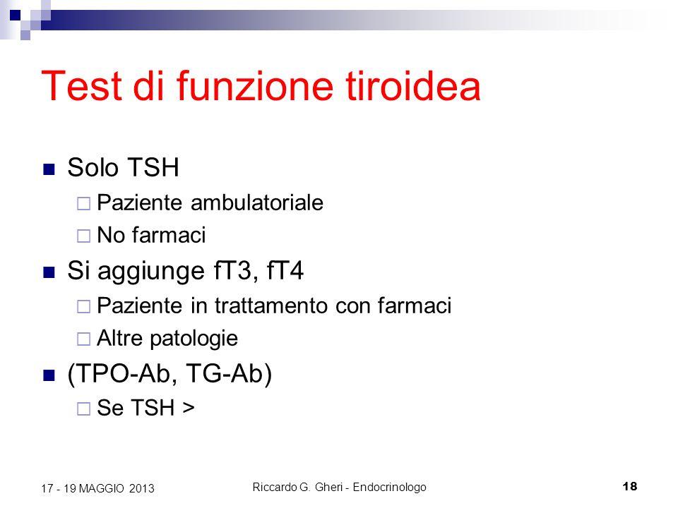 Riccardo G. Gheri - Endocrinologo18 17 - 19 MAGGIO 2013 Test di funzione tiroidea Solo TSH  Paziente ambulatoriale  No farmaci Si aggiunge fT3, fT4