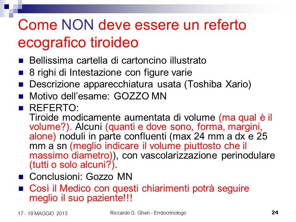 Riccardo G. Gheri - Endocrinologo24 17 - 19 MAGGIO 2013 Come NON deve essere un referto ecografico tiroideo Bellissima cartella di cartoncino illustra