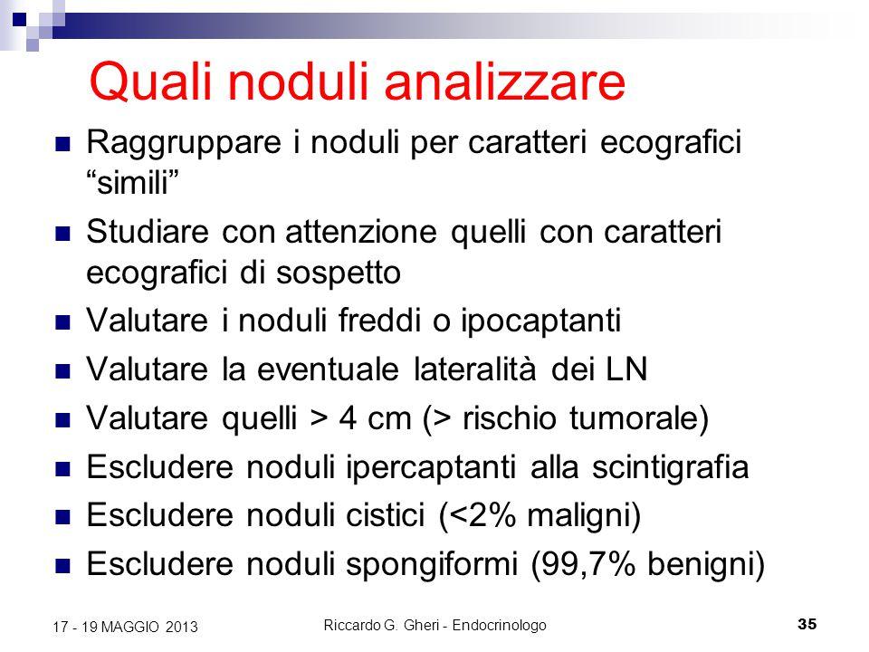 """Riccardo G. Gheri - Endocrinologo35 17 - 19 MAGGIO 2013 Quali noduli analizzare Raggruppare i noduli per caratteri ecografici """"simili"""" Studiare con at"""