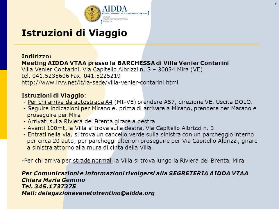 3 Istruzioni di Viaggio Indirizzo: Meeting AIDDA VTAA presso la BARCHESSA di Villa Venier Contarini Villa Venier Contarini, Via Capitello Albrizzi n.