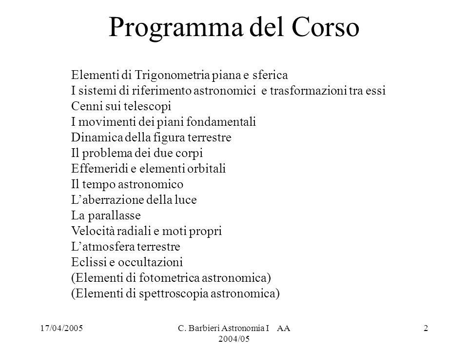 17/04/2005C.Barbieri Astronomia I AA 2004/05 3 Testi Consigliati C.