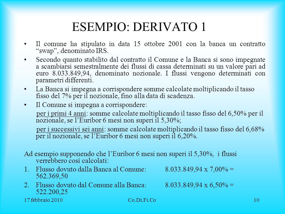 """17 febbraio 2010Co.Di.Fi.Co10 ESEMPIO: DERIVATO 1 Il comune ha stipulato in data 15 ottobre 2001 con la banca un contratto """"swap"""", denominato IRS. Sec"""