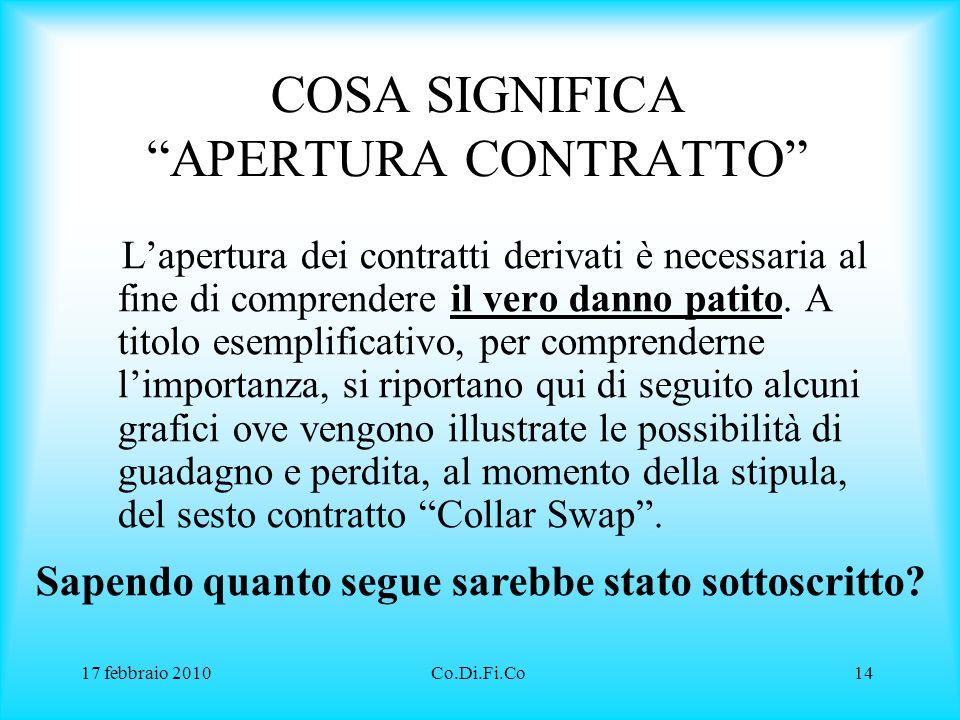 """17 febbraio 2010Co.Di.Fi.Co14 COSA SIGNIFICA """"APERTURA CONTRATTO"""" L'apertura dei contratti derivati è necessaria al fine di comprendere il vero danno"""
