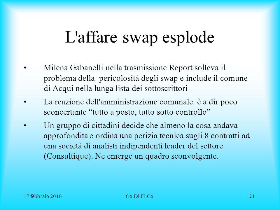 17 febbraio 2010Co.Di.Fi.Co21 L'affare swap esplode Milena Gabanelli nella trasmissione Report solleva il problema della pericolosità degli swap e inc