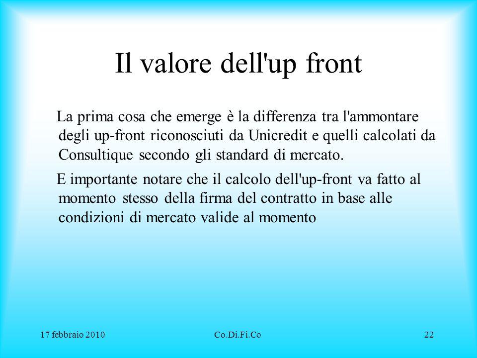 17 febbraio 2010Co.Di.Fi.Co22 Il valore dell'up front La prima cosa che emerge è la differenza tra l'ammontare degli up-front riconosciuti da Unicredi