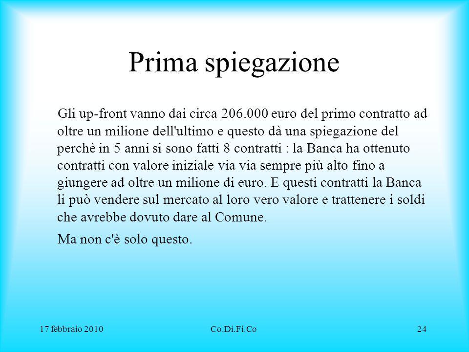 17 febbraio 2010Co.Di.Fi.Co24 Prima spiegazione Gli up-front vanno dai circa 206.000 euro del primo contratto ad oltre un milione dell'ultimo e questo