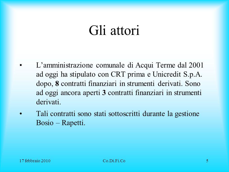 17 febbraio 2010Co.Di.Fi.Co5 Gli attori L'amministrazione comunale di Acqui Terme dal 2001 ad oggi ha stipulato con CRT prima e Unicredit S.p.A. dopo,