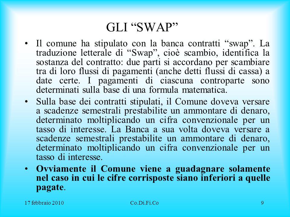 17 febbraio 2010Co.Di.Fi.Co10 ESEMPIO: DERIVATO 1 Il comune ha stipulato in data 15 ottobre 2001 con la banca un contratto swap , denominato IRS.