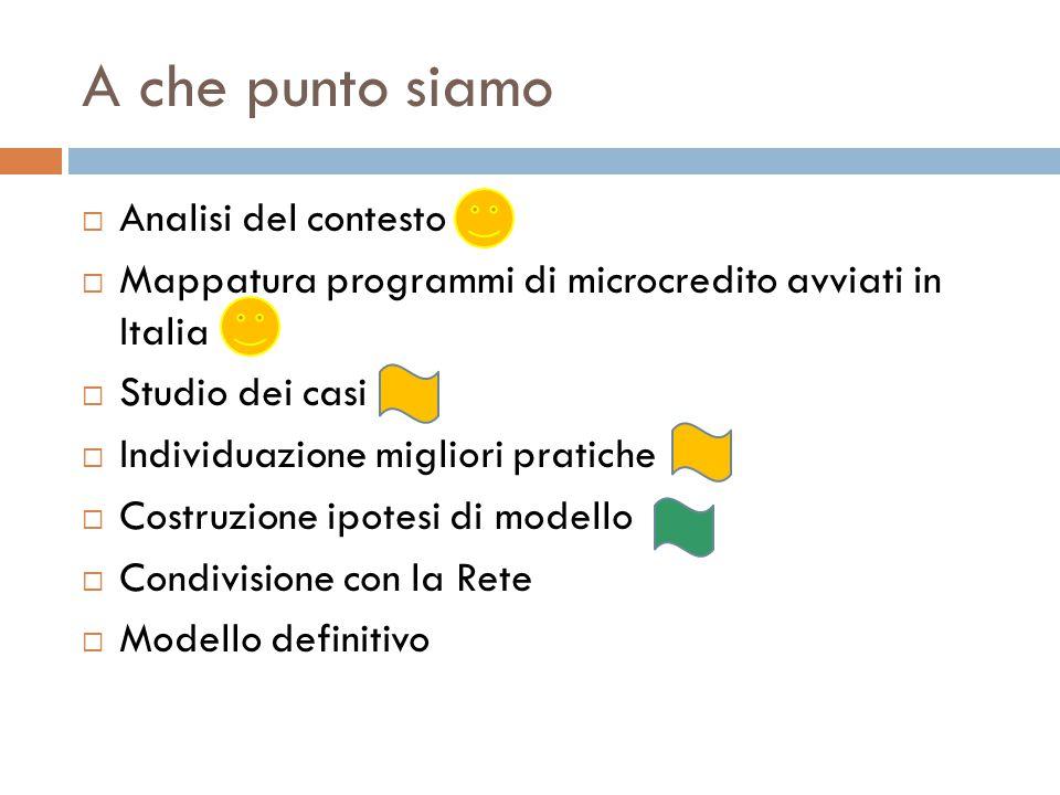 A che punto siamo  Analisi del contesto  Mappatura programmi di microcredito avviati in Italia  Studio dei casi  Individuazione migliori pratiche  Costruzione ipotesi di modello  Condivisione con la Rete  Modello definitivo