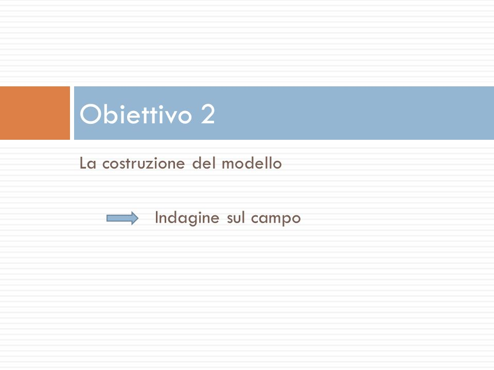 La costruzione del modello Obiettivo 2 Indagine sul campo