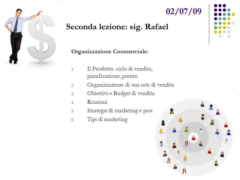 02/07/09 Seconda lezione: sig.Rafael Organizzazione Commerciale: 1.