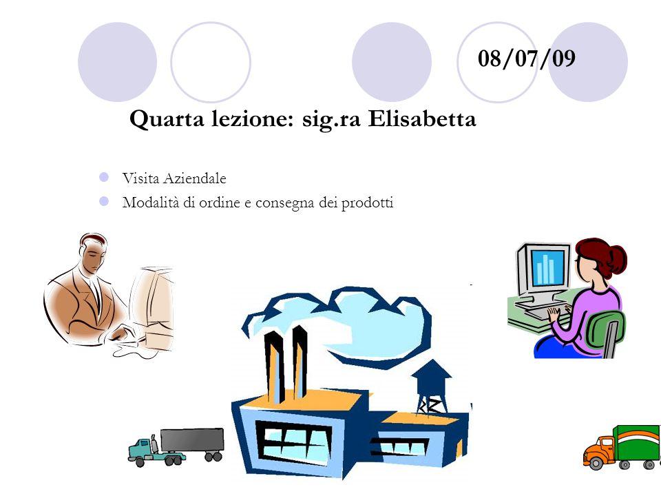 08/07/09 Quarta lezione: sig.ra Elisabetta Visita Aziendale Modalità di ordine e consegna dei prodotti