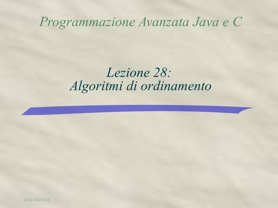 Programmazione Avanzata Java e C 12/01/2015 0.12 Lezione 28: Algoritmi di ordinamento