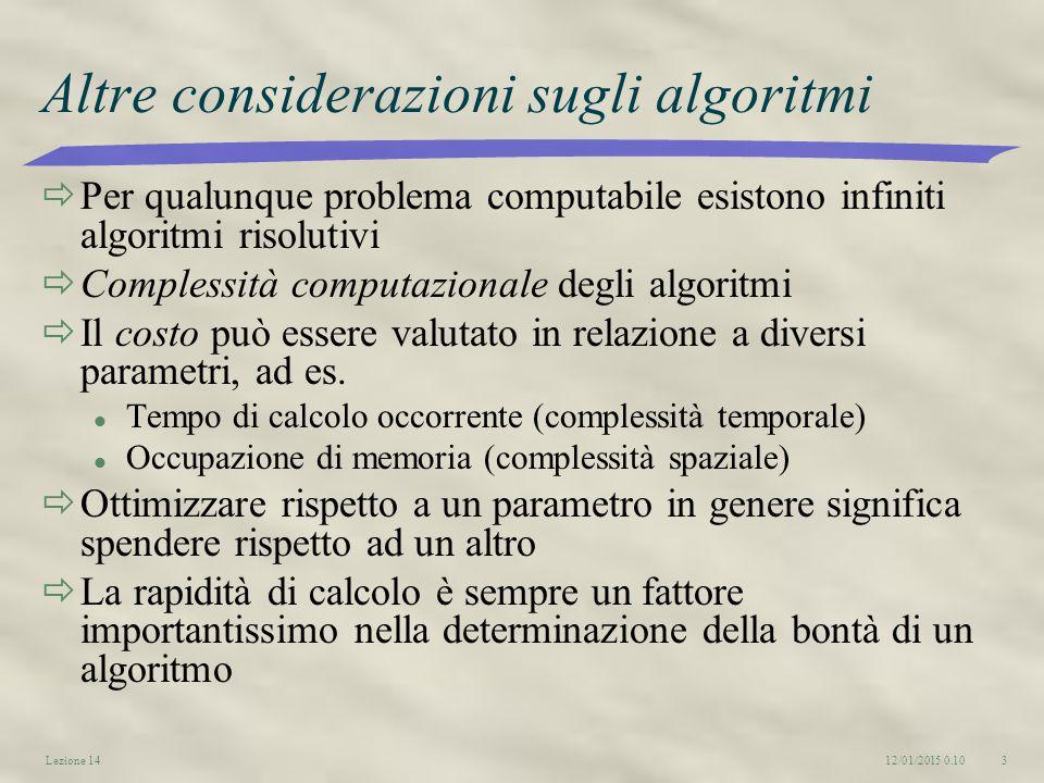 12/01/2015 0.12Lezione 143 Altre considerazioni sugli algoritmi  Per qualunque problema computabile esistono infiniti algoritmi risolutivi  Complessità computazionale degli algoritmi  Il costo può essere valutato in relazione a diversi parametri, ad es.