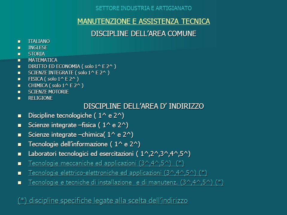 SETTORE INDUSTRIA E ARTIGIANATO MANUTENZIONE E ASSISTENZA TECNICA DISCIPLINE DELL'AREA COMUNE ITALIANO ITALIANO INGLESE INGLESE STORIA STORIA MATEMATI