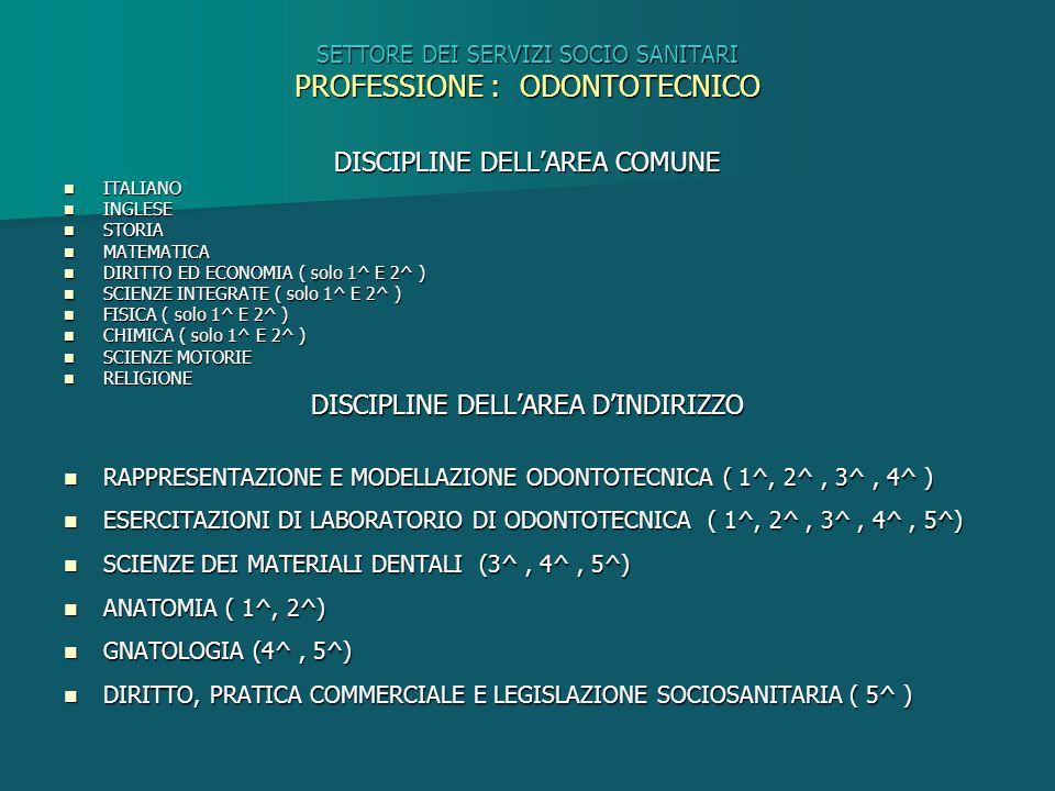SETTORE DEI SERVIZI SOCIO SANITARI PROFESSIONE : ODONTOTECNICO DISCIPLINE DELL'AREA COMUNE ITALIANO ITALIANO INGLESE INGLESE STORIA STORIA MATEMATICA
