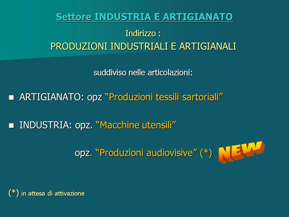 INDUSTRIA E ARTIGIANATO PRODUZIONI INDUSTRIALI E ARTIGIANALI Articolazione ARTIGIANATO : Produzioni tessili e sartoriali