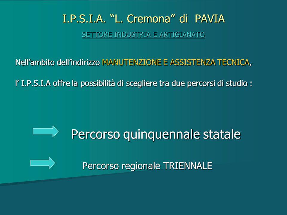 """I.P.S.I.A. """"L. Cremona"""" di PAVIA SETTORE INDUSTRIA E ARTIGIANATO Nell'ambito dell'indirizzo MANUTENZIONE E ASSISTENZA TECNICA, l' I.P.S.I.A offre la p"""