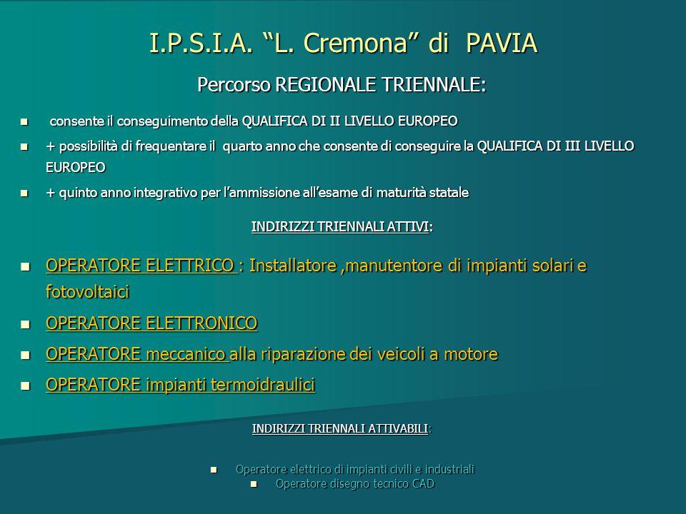 """I.P.S.I.A. """"L. Cremona"""" di PAVIA Percorso REGIONALE TRIENNALE: consente il conseguimento della QUALIFICA DI II LIVELLO EUROPEO consente il conseguimen"""