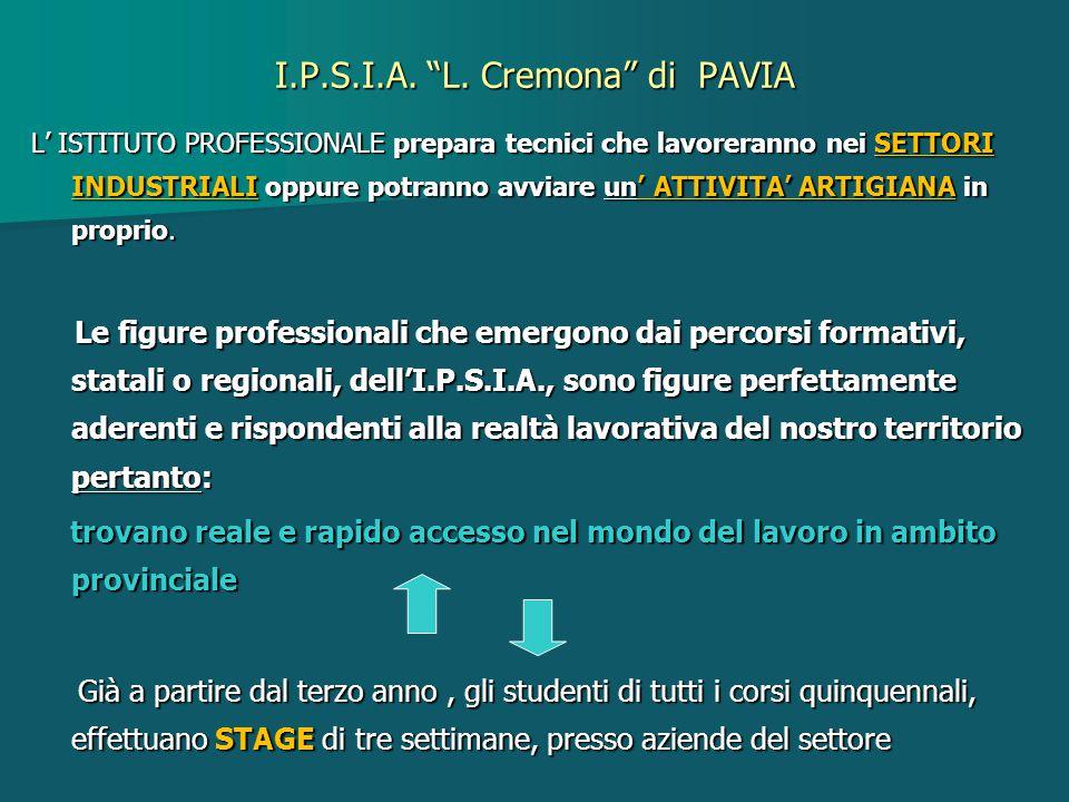 """I.P.S.I.A. """"L. Cremona"""" di PAVIA L' ISTITUTO PROFESSIONALE prepara tecnici che lavoreranno nei SETTORI INDUSTRIALI oppure potranno avviare un' ATTIVIT"""