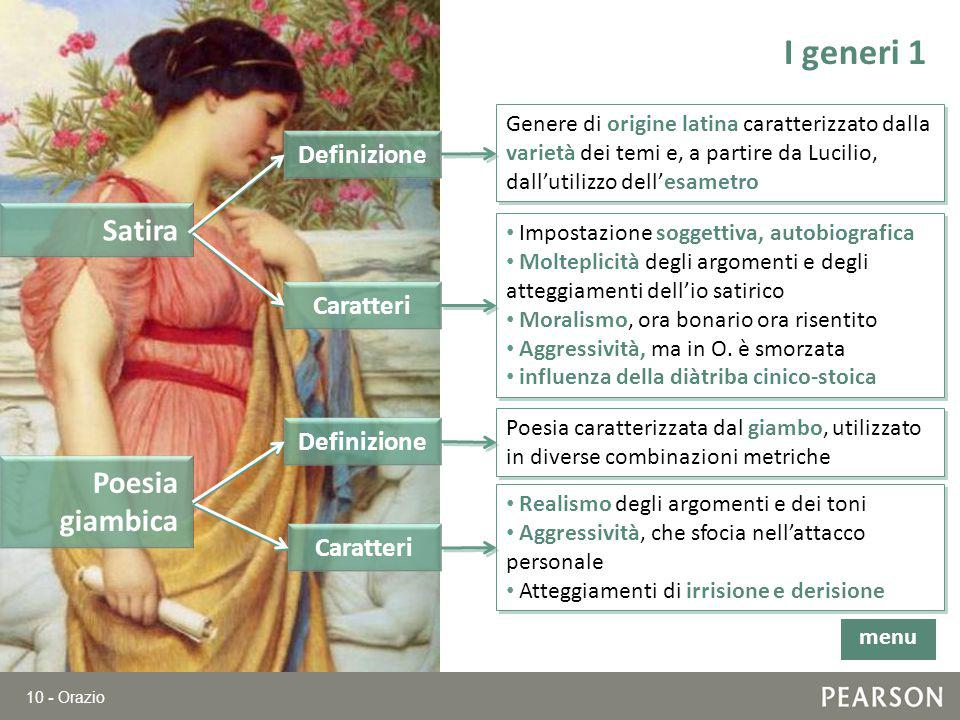 10 - Orazio I generi 1 Satira Genere di origine latina caratterizzato dalla varietà dei temi e, a partire da Lucilio, dall'utilizzo dell'esametro Defi