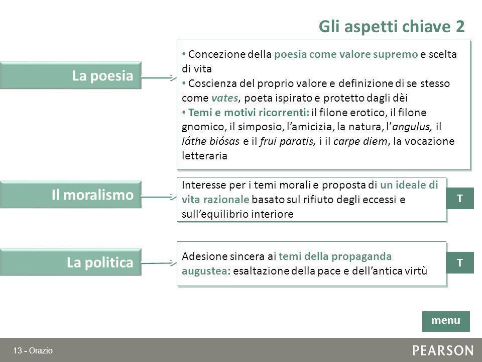 13 - Orazio Gli aspetti chiave 2 T Il moralismo Interesse per i temi morali e proposta di un ideale di vita razionale basato sul rifiuto degli eccessi