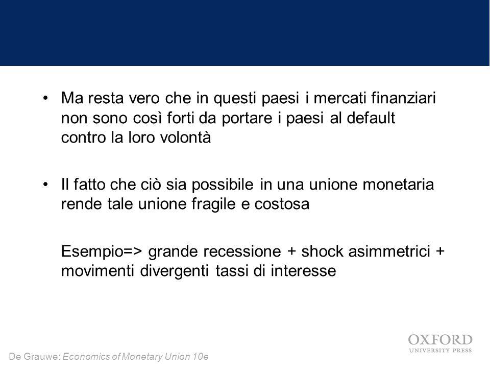 De Grauwe: Economics of Monetary Union 10e Ma resta vero che in questi paesi i mercati finanziari non sono così forti da portare i paesi al default co