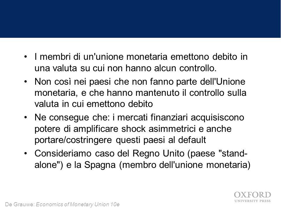 De Grauwe: Economics of Monetary Union 10e I membri di un'unione monetaria emettono debito in una valuta su cui non hanno alcun controllo. Non così ne