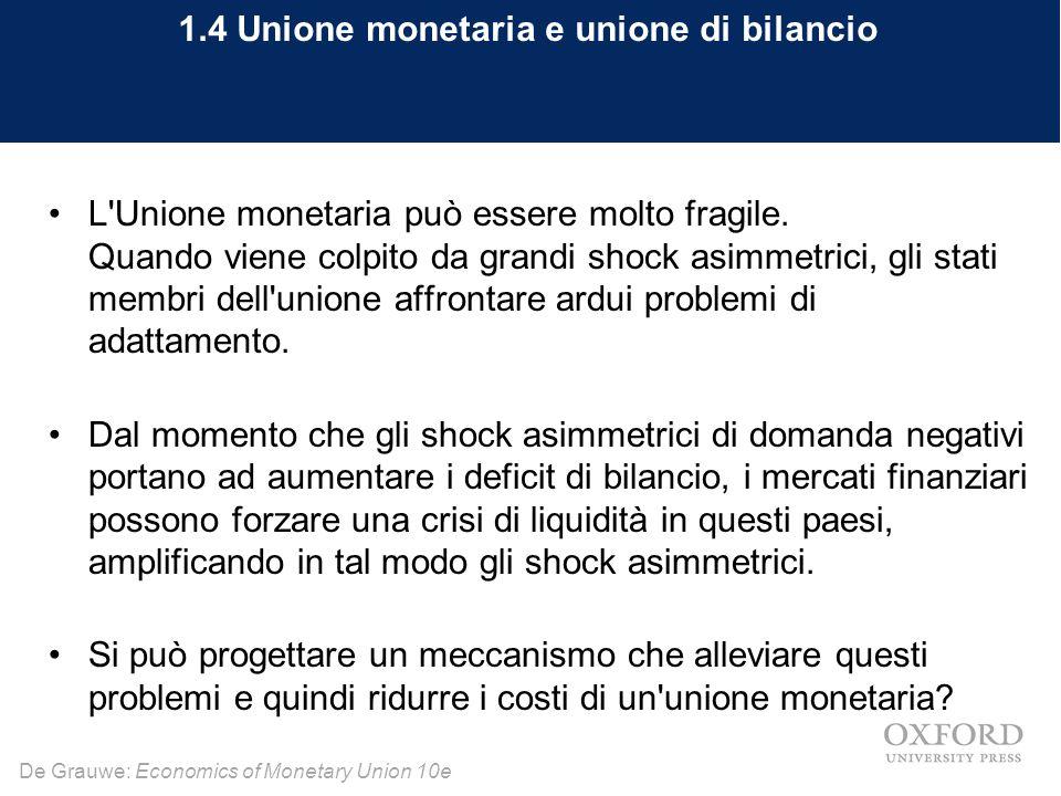 De Grauwe: Economics of Monetary Union 10e 1.4 Unione monetaria e unione di bilancio L'Unione monetaria può essere molto fragile. Quando viene colpito