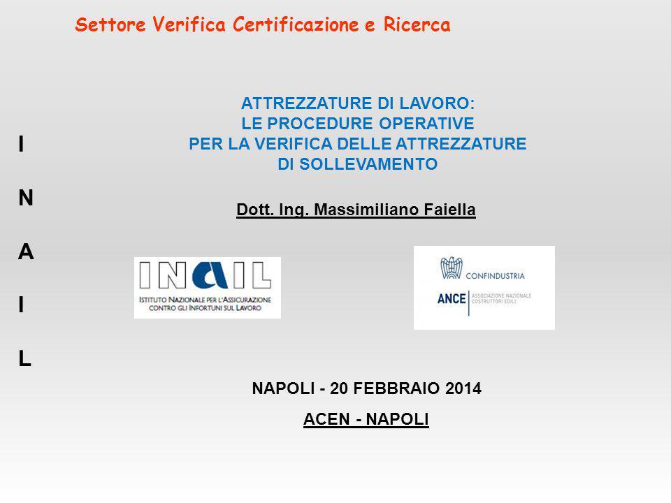Settore Verifica Certificazione e Ricerca Dott. Ing. Massimiliano Faiella INAILINAIL NAPOLI - 20 FEBBRAIO 2014 ACEN - NAPOLI ATTREZZATURE DI LAVORO: L