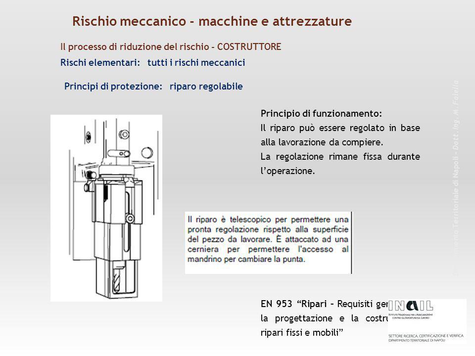 Rischi elementari: tutti i rischi meccanici Principio di funzionamento: Il riparo può essere regolato in base alla lavorazione da compiere. La regolaz