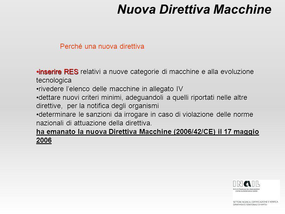 Nuova Direttiva Macchine inserire RES relativi a nuove categorie di macchine e alla evoluzione tecnologicainserire RES relativi a nuove categorie di macchine e alla evoluzione tecnologica rivedere l'elenco delle macchine in allegato IVrivedere l'elenco delle macchine in allegato IV dettare nuovi criteri minimi, adeguandoli a quelli riportati nelle altre direttive, per la notifica degli organismidettare nuovi criteri minimi, adeguandoli a quelli riportati nelle altre direttive, per la notifica degli organismi determinare le sanzioni da irrogare in caso di violazione delle norme nazionali di attuazione della direttiva.determinare le sanzioni da irrogare in caso di violazione delle norme nazionali di attuazione della direttiva.