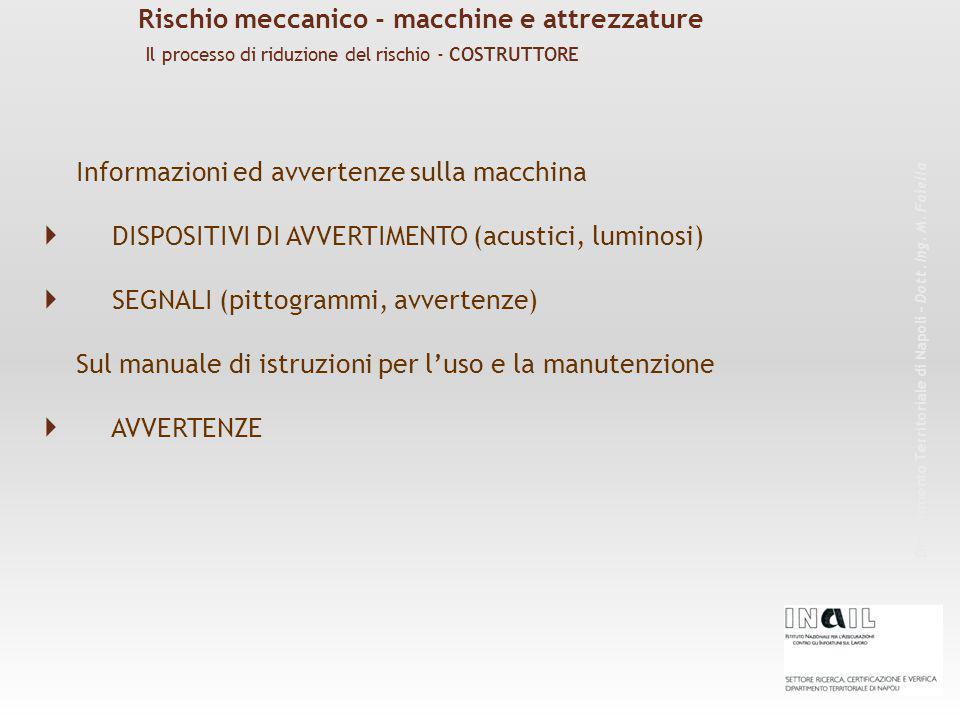 Informazioni ed avvertenze sulla macchina  DISPOSITIVI DI AVVERTIMENTO (acustici, luminosi)  SEGNALI (pittogrammi, avvertenze) Sul manuale di istruzioni per l'uso e la manutenzione  AVVERTENZE Rischio meccanico - macchine e attrezzature Dipartimento Territoriale di Napoli – Dott.