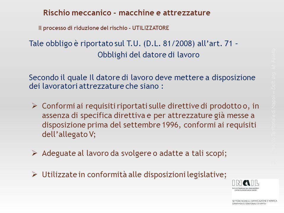 Rischio meccanico - macchine e attrezzature Dipartimento Territoriale di Napoli – Dott. Ing. M. Faiella Tale obbligo è riportato sul T.U. (D.L. 81/200