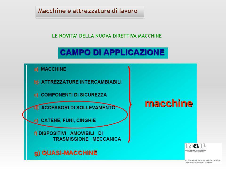 Macchine e attrezzature di lavoro LE NOVITA' DELLA NUOVA DIRETTIVA MACCHINE